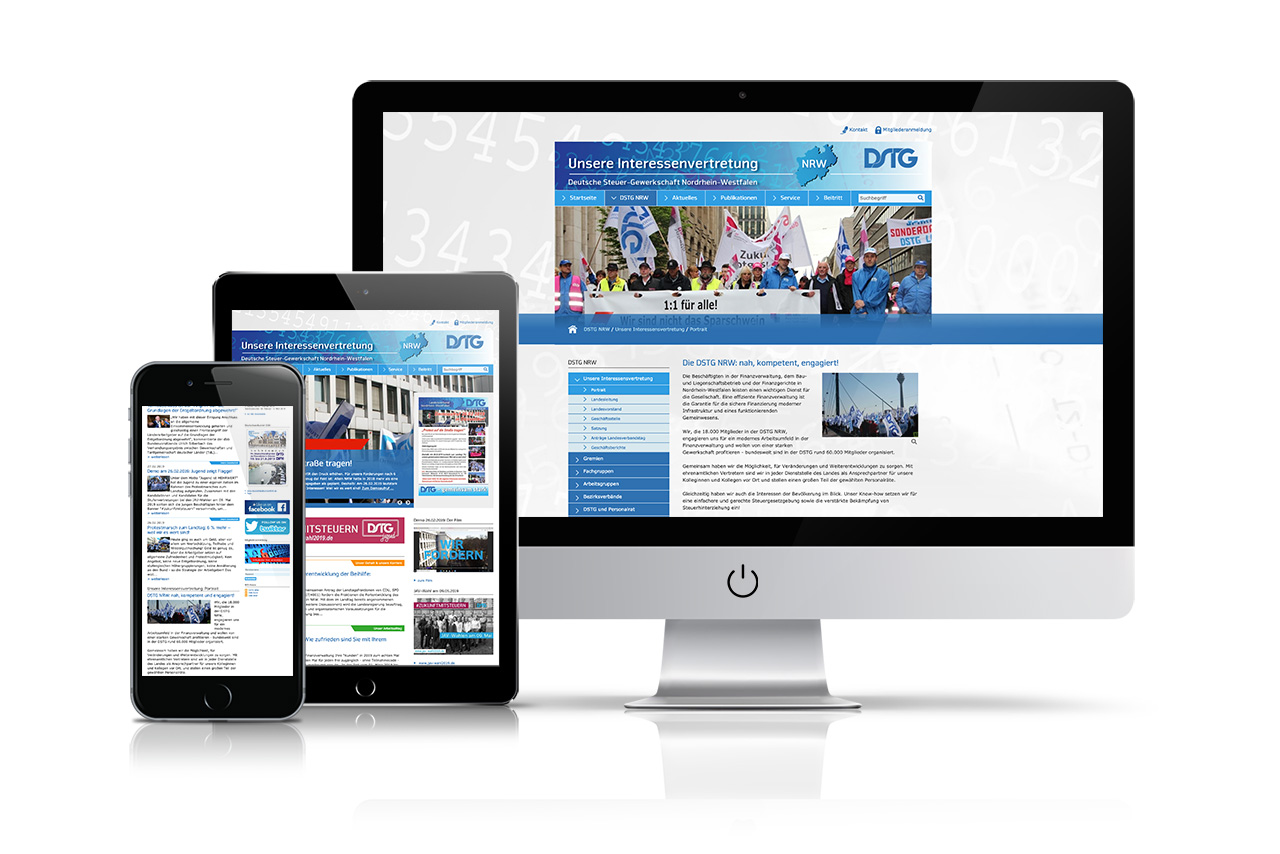 Website Deutsche Steuer-Gewerkschaft Landesverband Nordrhein-Westfalen