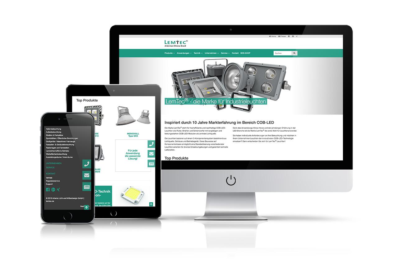 Website LemTec COB-LED-Leuchten